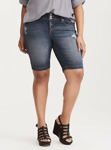 0da06bf16c Image is loading Torrid-Premium-Stretch-Jegging-Bermuda-Shorts-Dark-Wash-