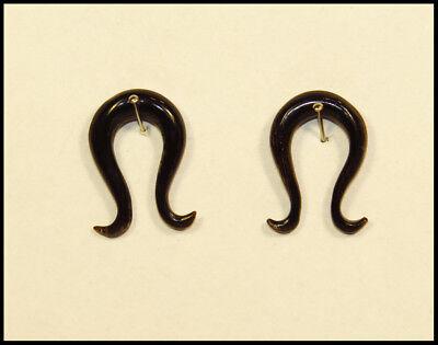 Ein Piercing Ohrschmuck Ohrring Hook Claw Horn Tribal Braun-schwarz 4-5 Mm Neu!