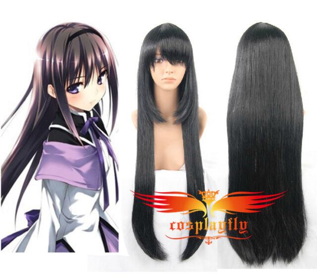 Puella Magi Madoka Magica Homura Akemi Long Cosplay Wig+Wig Cap