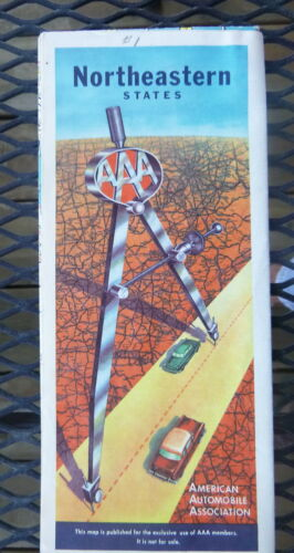 1955 Northeastern United States road map AAA oil gas