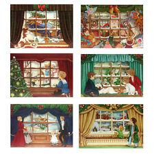 150 Three Dimensional Die-cut Christmas Window Scene Petite Gift Cards