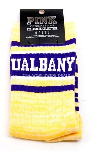 Victoria/'s Secret PINK University At Albany UAlbany Marble Yellow Crew Sock