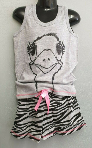 BNWT Girls Sz 10 Cute Grey Ostrich Print Short Summer Stretch PJ Pyjamas