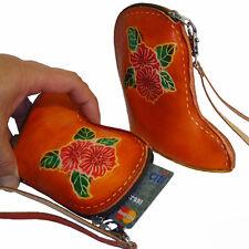 Genuine Leather Wristlet Mini Bag,Wallet/Change/Coin Purse,Boot Shape,OrangeRed