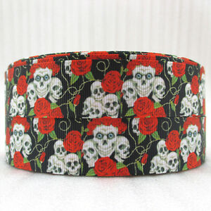 SKULLS-amp-RED-ROSES-25MM-Grosgrain-Ribbon-Craft-Bow-Sewing-Floral-Metre-Yard-RB24