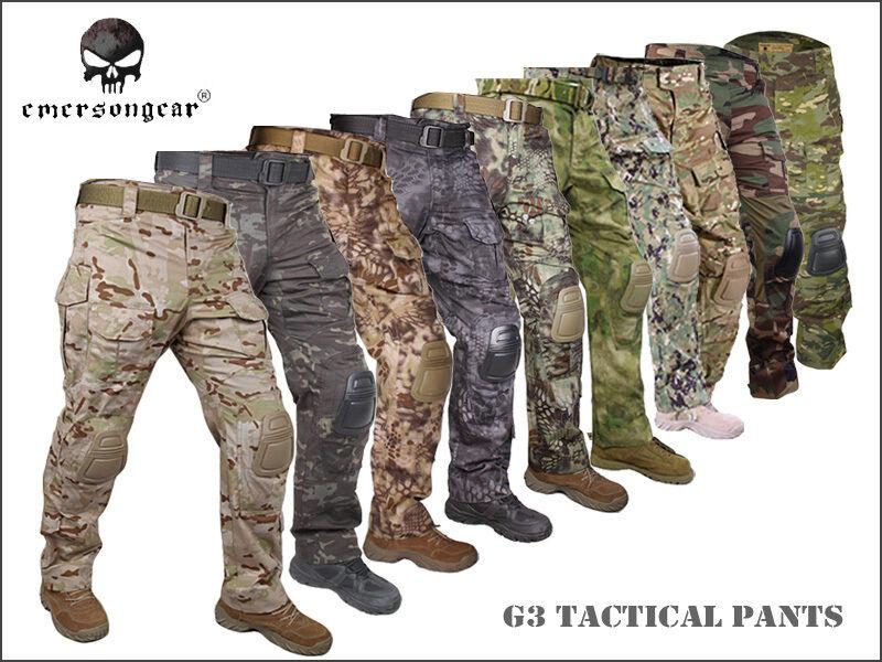 Hombres Pantalones BDU Táctica Airsoft Caza Emerson combate Gen3 Pantalones Con Rodillera