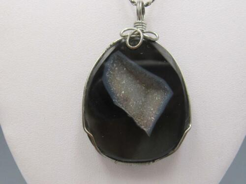 Sterling with smokey topaz and geode pendant