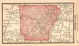 photo regarding Printable Map of Arkansas named Information in excess of 1888 Miniature Antique ARKANSAS Map of Arkansas Region Map Arkansas Print 4785
