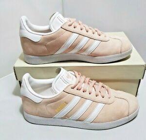 amplia gama garantía limitada estilo actualizado Adidas Mens Gazelle Size 4 UK Pink White Gold suede BB5472 ...