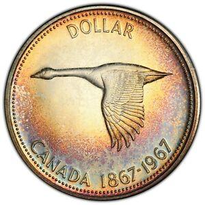 1967-CANADA-GOOSE-SILVER-DOLLAR-PCGS-PL65-SUBTLE-TONED-RAINBOW-COLOR-UNC-DR