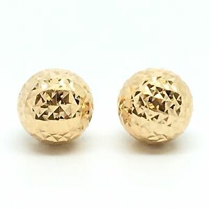 Image Is Loading 18k Solid Yellow Gold 8mm Diamond Cut Ball