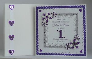 St wedding anniversary card son daughter personalised all colours