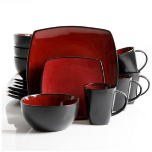 Image is loading Square-Dinnerware-Set-Clearance-Black-Dishes-Red-Stoneware-  sc 1 st  eBay & Square Dinnerware Set Clearance Black Dishes Red Stoneware Family ...