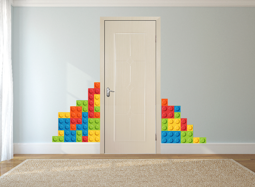 Lego bricks wall sticker children 39 s bedroom wall art decal for Brick wall decal mural