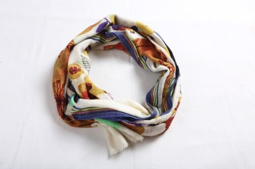 NEW Shawl Stole Scarf Floral Wrap Multi Blue Vintage Abstract Wedding GIFT UK