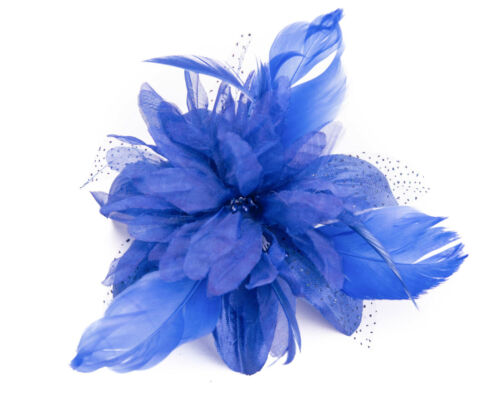 Royal Blue Feather Comb Fascinator Wedding Races Proms Bridal Hair Accessory 3