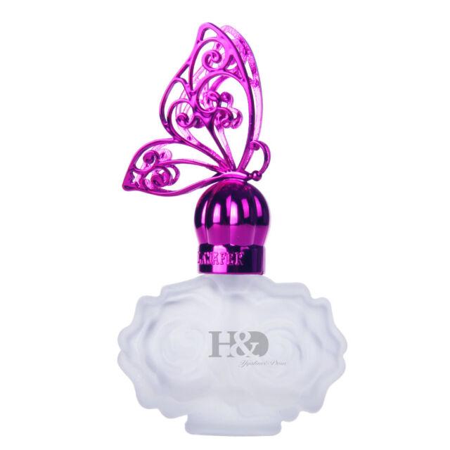 Vintage Glass Crystal Perfume Bottle Pump Empty Rose Bottle Butterfly Cap Gifts