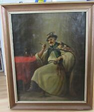 ANTIQUE  HUNGARIAN TAVERN INTERIOR  SCENE OF A MAN O/C PAINTING, LARGE