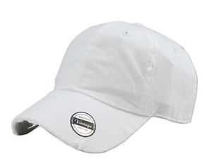 Solid-Vintage-Washed-Distressed-Cotton-Dad-Hat-Baseball-Cap-Polo-Style-White