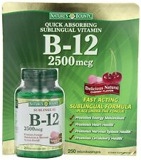 2 X 250ct  Nature's Bounty B-12 2500 mcg Quick Desolve 250 Microlozenges