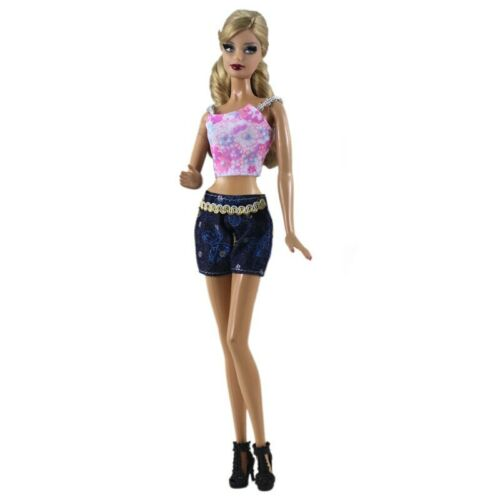 """Fashion Doll Clothes For 11.5/"""" Doll Floral Top Vest Denim Jeans Shorts Outfits"""