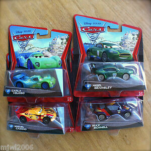Disney-PIXAR-Cars-2-WORLD-GRAND-PRIX-RACERS-lot-4-NIGEL-CARLA-MAX-MIGUEL-diecast