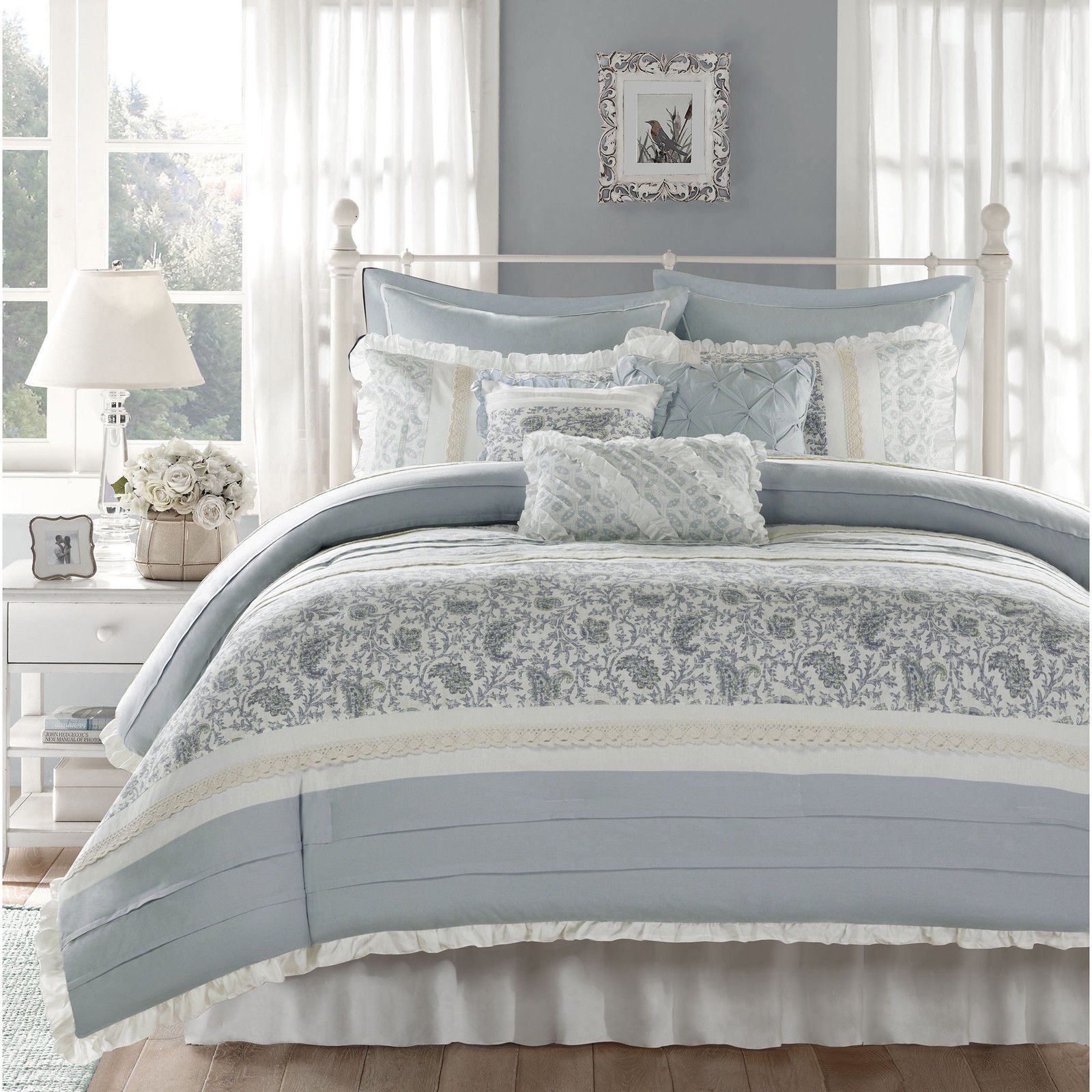 BEAUTIFUL COTTAGE blu bianca grigio COUNTRY LACE RUFFLE COTTON DUVET COVER SET NEW