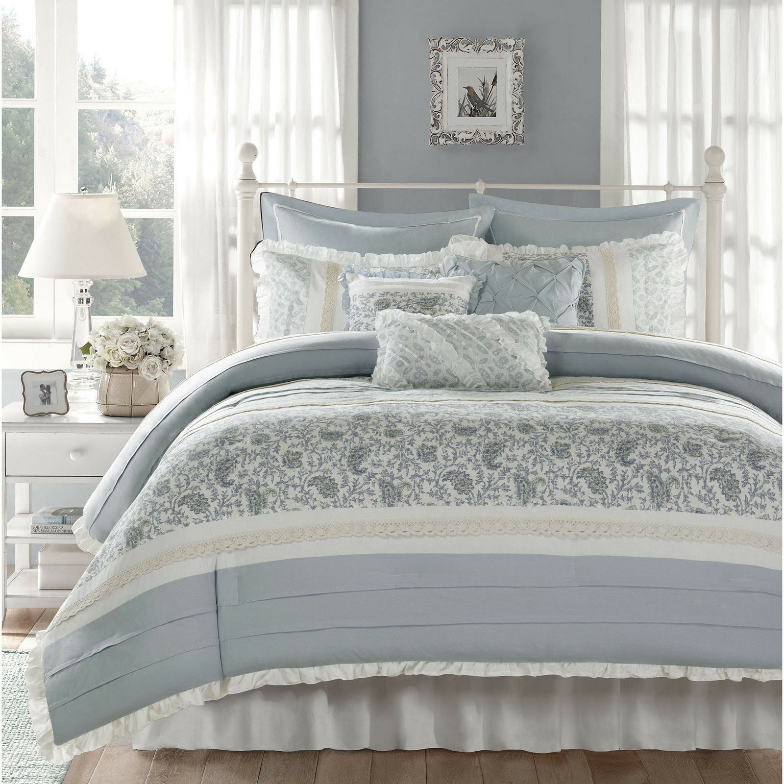 BEAUTIFUL COTTAGE Blau Weiß grau COUNTRY LACE RUFFLE COTTON DUVET COVER SET NEW