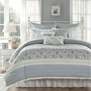 BEAUTIFUL-COTTAGE-BLUE-WHITE-GREY-COUNTRY-LACE-RUFFLE-COTTON-DUVET-COVER-SET-NEW