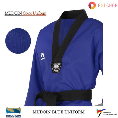 MUDOIN Kids Junior Blue Taekwondo Uniform WTF Poom TKD Tae Kwon Martial Arts