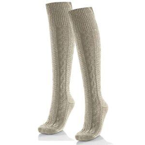 Trachtenstruempfe-Kniebundstuempfe-Kniestruempfe-Tracht-Trachten-Socken-natur-mel