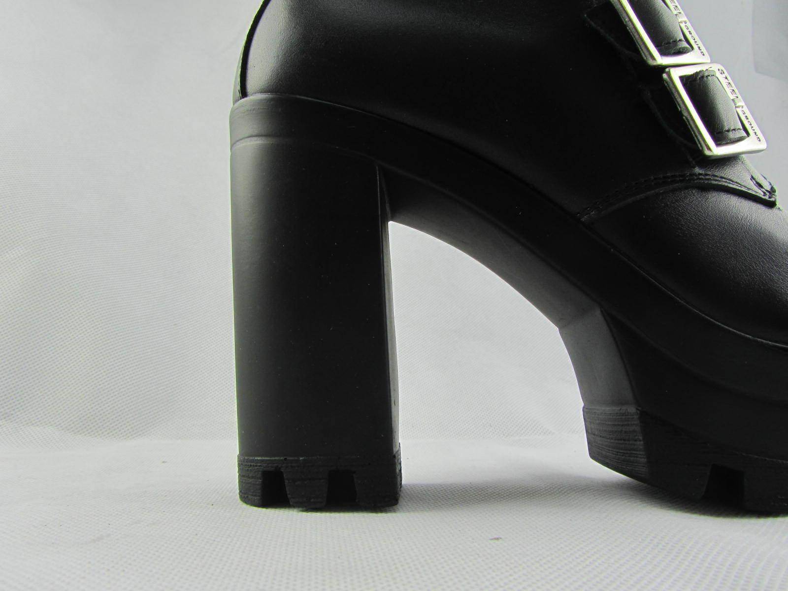Tierra De Acero Nuevo Plataforma Negro Cuero Damas Plataforma Nuevo Botas al Tobillo Bloque Talón Rock Biker 430a28