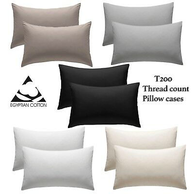 2 X Pillow Case Luxury 100/% Housewife Egyptian Cotton 200 Thread Count Pair Pack