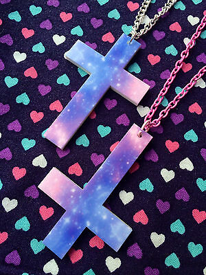 Pastel Galaxy Cross Crucifix Acrylic Necklace- Inverted or Normal..Kawaii / Goth