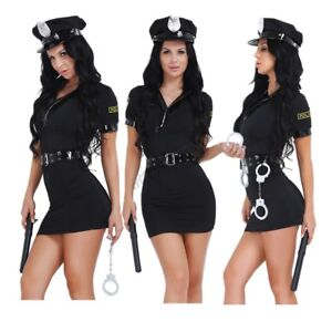 Image is loading Women-Police-Cop-Halloween-Costume-Fancy-Dress-Sexy-  sc 1 st  eBay & Women Police Cop Halloween Costume Fancy Dress Sexy Outfit Woman ...