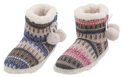 Slumberzzz Ladies Faux Suede Fairisle Knitted Bead Bootie