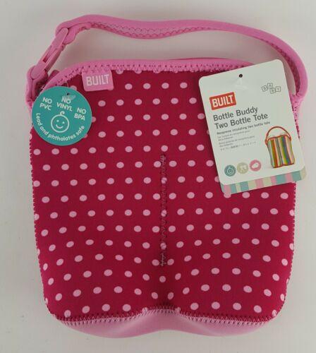 BUILT BAG BUDDY 2 BABY BOTTLE TOTE NEOPRENE INSULATING BPA FREE PINK DOTS