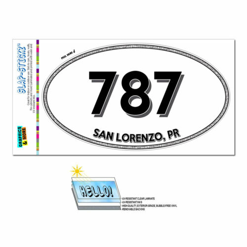 Yauco Area Code Oval Window Laminated Sticker 787 Puerto Rico PR Mercedita