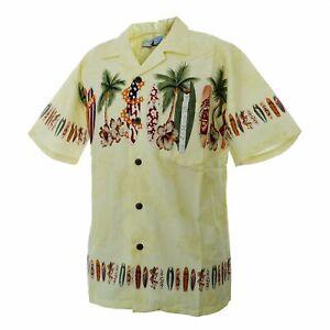 Men-Aloha-Shirt-Cruise-Tropical-Luau-Party-Hawaiian-Yellow-Surf-Board-Palm-Tress