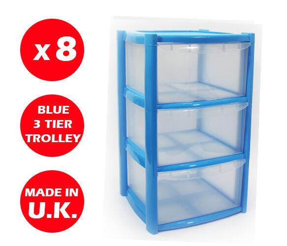 8 x 3 cassetti in plastica con cassetti di stoccaggio-Petto unità-TOWER-RUOTE-GIOCATTOLI - Blu