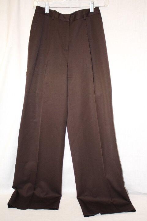 BROOKS BredHERS Chocolate Brown 100% Wool Pleated Dress Pants Womens, 2-B121