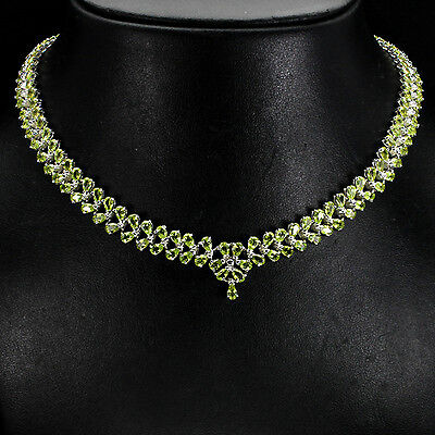 Sterling Silver 925 Genuine Pear Faceted Peridot Two Row Necklace 19.5 Inch