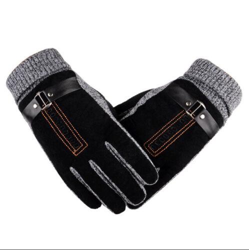 Men Gloves Synthetic Leathers Anti Slip Screens Hand Warmer Woolen Wrist Mittens