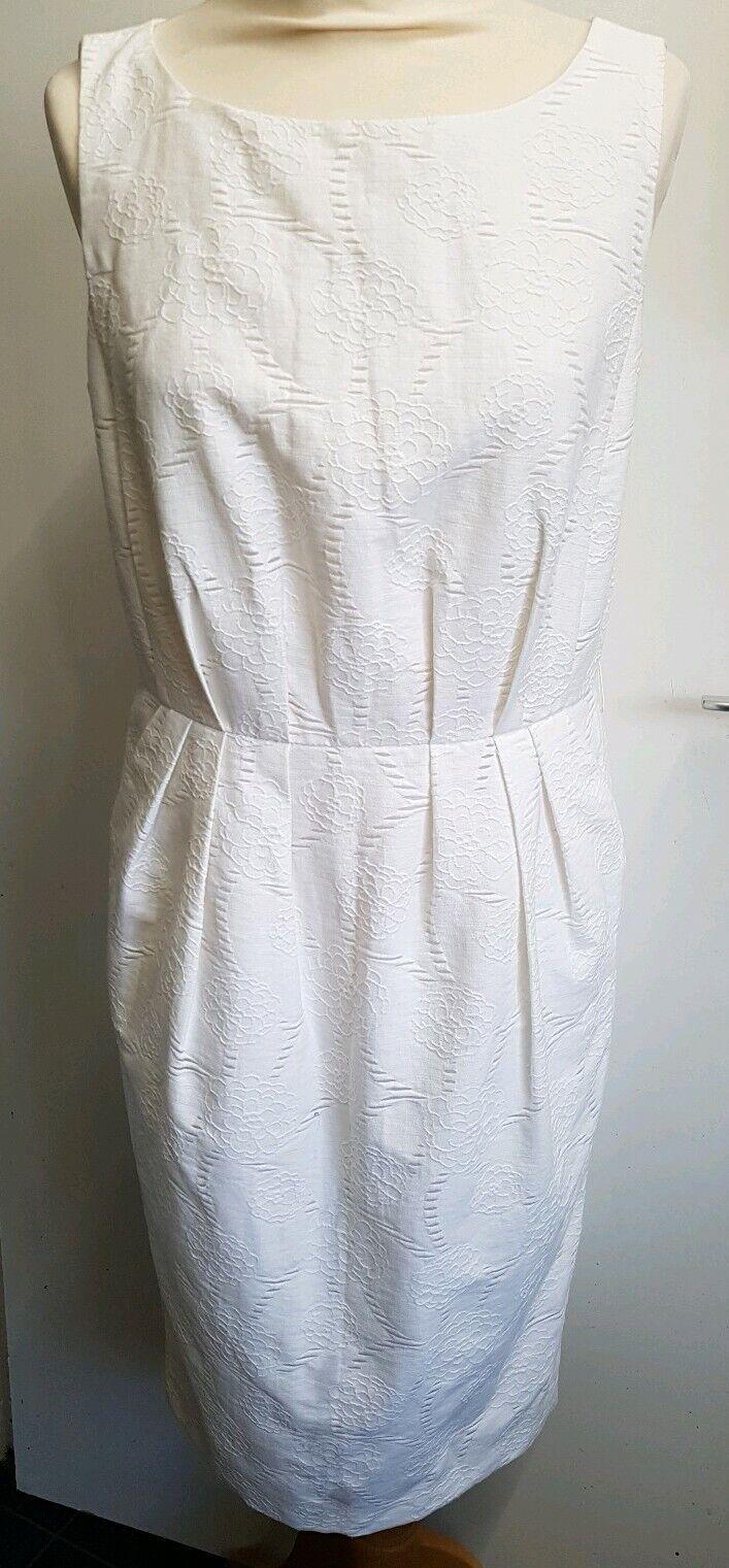 BNWT Fase Otto Bianco Ricamato Shift Shift Shift Dress Dimensione 10 80b993