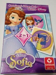 Juego de cartas para niños Sofia Disney princesa 2 juegos parejas y burro