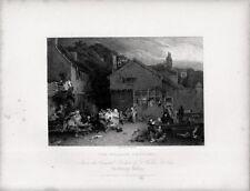 Stampa antica VILLAGGIO DI CAMPAGNA IN FESTA David Wilkie 1840 Old print
