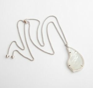 New-Kendra-Scott-Theodora-Silver-Long-Pendant-Necklace-In-Ivory-Pearl