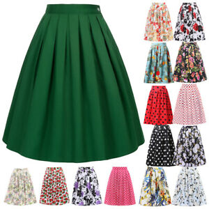 Women Vintage Stretch High Waist Plain Skater Flared Pleated Skirt A Line Dress