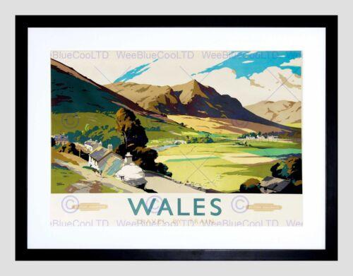 TRAVEL WALES UK LANDSCAPE VALLEY MOUNTAIN VILLAGE RIVER FRAMED PRINT B12X3345