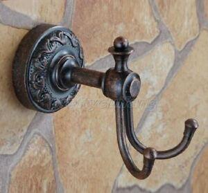 Antique-Copper-Wall-Mount-Bathroom-Double-Robe-Coat-Hat-Towel-Hanger-Hook-Pba154
